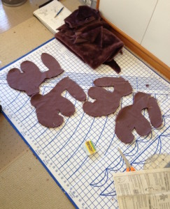 Laying out the parts of the bunny after removing the pattern pieces