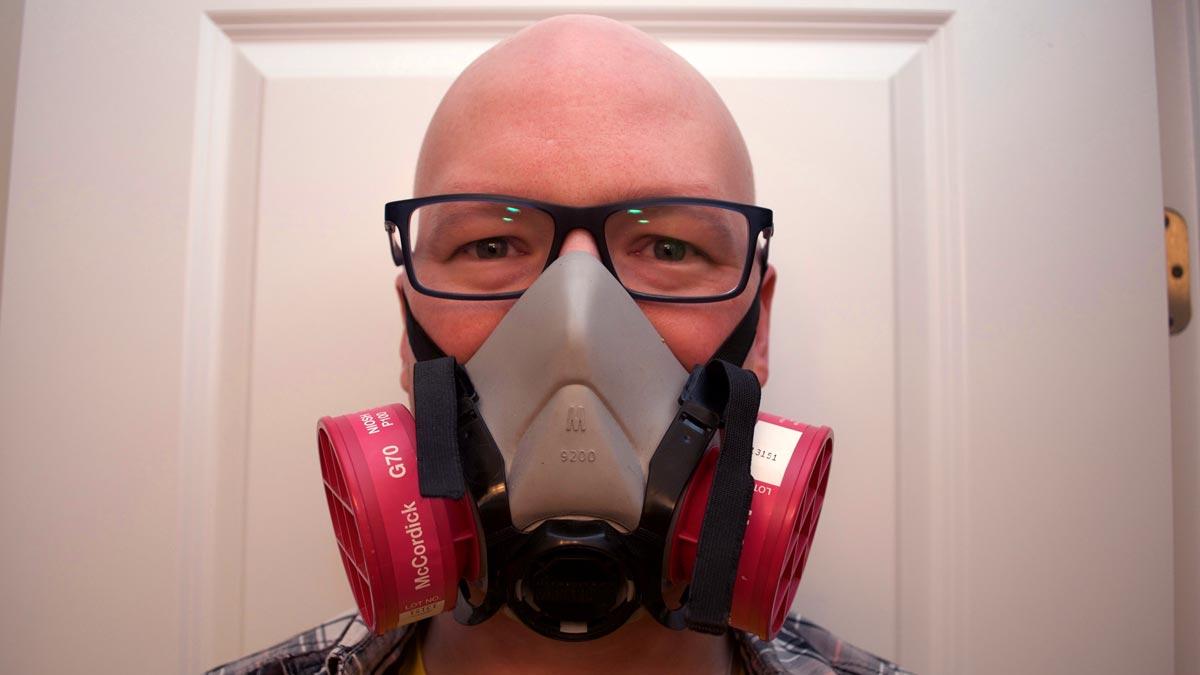 Scott wearing a P100 respirator.