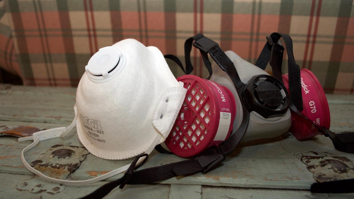 An N95 and a P100 respirator.